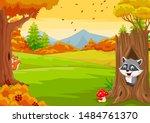 Cartoon Squirrel With Raccoon...