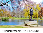 Lagoon at Boston Public Garden in Boston, Massachusetts, USA. - stock photo