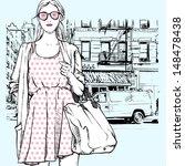 cute fashion girl on a street... | Shutterstock .eps vector #148478438
