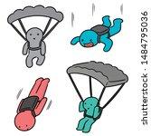 vector set of parachuter cartoon | Shutterstock .eps vector #1484795036