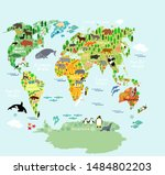 big world map oceans and... | Shutterstock . vector #1484802203