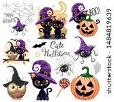 set of cute halloween... | Shutterstock .eps vector #1484819639