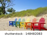 Colorful Beach Chair In Sand
