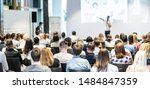 speaker giving a talk in...   Shutterstock . vector #1484847359
