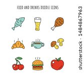 food and drinks doodle color... | Shutterstock .eps vector #1484867963
