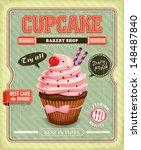 vintage cupcake poster design   Shutterstock .eps vector #148487840