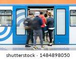 passenger flow concept. people... | Shutterstock . vector #1484898050
