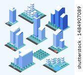 city buildings 3d isometric... | Shutterstock .eps vector #1484907089