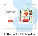 painter landing page template.... | Shutterstock . vector #1484957336