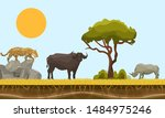 savannah animals in africa... | Shutterstock .eps vector #1484975246