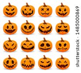 set pumpkin on white background.... | Shutterstock .eps vector #1485000869