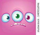 sad cartoon monster face with... | Shutterstock .eps vector #1485016946