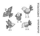 cute birds. hand drawing...   Shutterstock .eps vector #1485019016