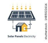 solar panel and house ... | Shutterstock .eps vector #1485022616