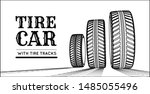 car tires with tire marks on a... | Shutterstock .eps vector #1485055496