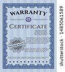 blue retro warranty certificate ... | Shutterstock .eps vector #1485061589