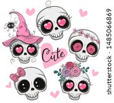 Set Of Cute Cartoon Skulls With ...