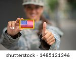 Soldier Holding Thumb Up And...