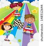illustration of the three kids... | Shutterstock . vector #148512644