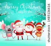 merry christmas lettering ... | Shutterstock .eps vector #1485136616
