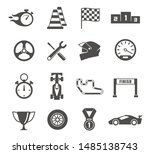 car racing glyph icons set.... | Shutterstock .eps vector #1485138743