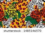 animal skin print leopard ... | Shutterstock .eps vector #1485146570