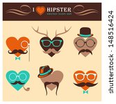 i love hipster background ... | Shutterstock .eps vector #148516424