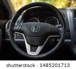 Small photo of ATLANTA, GEORGIA - AUGUST 22, 2019 : Honda CRV with recalled driver side Takata airbag. The Takata airbag inflator recall is one of the largest automotive safety recalls in US history.