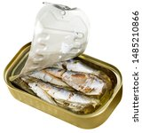 Open Can Of Sardines. Isolated...