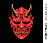 Red Oni Mask Vector...
