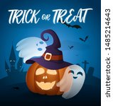 trick or treat calligraphy with ... | Shutterstock .eps vector #1485214643