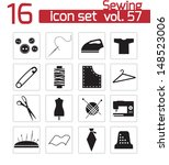 vector black sewing icons set | Shutterstock .eps vector #148523006