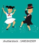 cute cartoon kids tap dancing... | Shutterstock .eps vector #1485342509