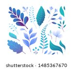 blue forest foliage vector... | Shutterstock .eps vector #1485367670