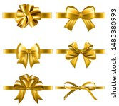 set of decorative golden bows... | Shutterstock .eps vector #1485380993