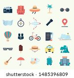 set of icons for travel. flat... | Shutterstock .eps vector #1485396809