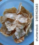Small photo of traditional chips from Central Java, Indonesia. we sped it emping. emping are made from melinjo. emping have a tasteless, salty, and sweet taste.