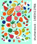 different kind of fruits.... | Shutterstock .eps vector #1485411986