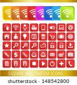 square multimedia icons   set...