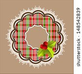 plaid christmas wreath with... | Shutterstock .eps vector #148542839