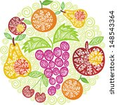 fruit pattern round illustration   Shutterstock . vector #148543364