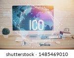 double exposure of blockchain...   Shutterstock . vector #1485469010