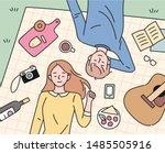 couple spending happy and... | Shutterstock .eps vector #1485505916