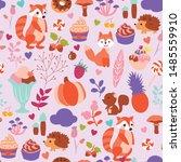 cute autumn animal seamless... | Shutterstock .eps vector #1485559910