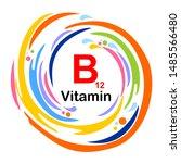 vitamin b12  isolated on white... | Shutterstock .eps vector #1485566480