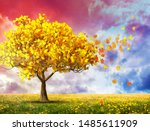 fantasy landscape with red... | Shutterstock . vector #1485611909