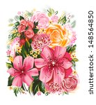 color illustration of flowers... | Shutterstock . vector #148564850