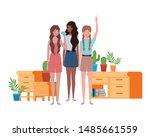 women standing with bookshelf... | Shutterstock .eps vector #1485661559