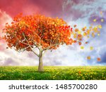 fantasy landscape with red... | Shutterstock . vector #1485700280