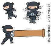vector set of ninja cartoon | Shutterstock .eps vector #1485746339